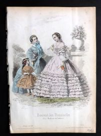Journal des Demoiselles C1850 Antique Hand Col Fashion Print 75